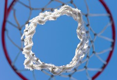 Dream Catcher (Chancy Rendezvous) Tags: basketball hoop net court sky blue dof game sport nikkor nikon abstract abstraction nylon hoopdreams hoops davelawler chancyrendezvous blurgasm lawler