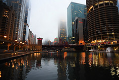Evening On The Chicago River (Anthony Mark Images) Tags: chicagoriver reflections water river bridges skyscrapers towers fog rain chicago illinois usa nikon d850 evening nightshot newyearseve romantic lovely pretty marinatowers westin docks boats architecture chicagoriverwalk