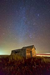 Milky Way over the Post Office (John Andersen (JPAndersen images)) Tags: abandoned alberta farm milkyway mossleigh night sky stars train