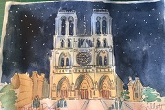 Notre Dame, snowy night (Paris Breakfast) Tags: notredame starrynight watercolor snowinparis