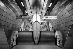 Way Out, Southwark, London, UK (bartekrutkowskiphotography) Tags: tube metro underground london uk sony alpha alpha7 a7 a7iii sonyalpha mono monochrome monochromatic space ship aliens less lessismore architecture shapes geometry light southwark lines symmetry flickr