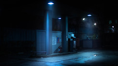 And there is nobody.. (igor.relsov) Tags: street neon night gas fuel evening fog ray lamp light magic mystic