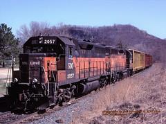 SOO 2057-2011, 217, Lake City, MN. 4-12-1999 (jackdk) Tags: train railroad railway emd emdgp40 emdgp402 gp40 gp402 milwaukee milwaukeeroad soo sooline cp canadianpacific patch fallenflag standardcab freighttrain lakecity lakecitymn