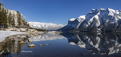 Minnewanka reflecions (Explore Nov 26) (Canon Queen Rocks (2,583,000 + views)) Tags: ice snow reflections water sky scenery scenic snowcapped trees tree banffnationalpark landscape lake landscapes lakes lakeminnewanka landschaft sun day canada alberta rocks rockies nature panorama clouds