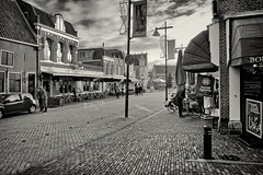Empty Street (Alfred Grupstra) Tags: street blackandwhite urbanscene people outdoors architecture buildingexterior city citylife builtstructure citystreet famousplace sidewalk store oldfashioned traveldestinations town old editorial dutch