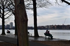 Benches on the Esplanade (AntyDiluvian) Tags: boston massachusetts river charlesriver esplanade backbay benches couple silhouette park