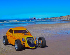 On the Beach (oybay©) Tags: ford roadster car automobile lajolla california lajollashores scrippspier color colors colorful beach
