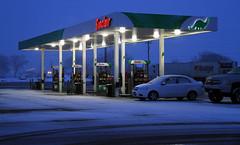 Snowy Night Gas (arbyreed) Tags: arbyreed night evening snow winter roadtrip sinclair sinclairgasstation snowing cold dinogas