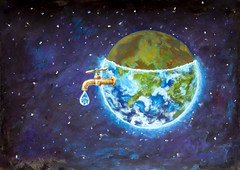 Water crisis, water shortage problem, drought, save water - the concept of original hand painted fine art painting on canvas. Planet earth in space Natural resources illustration artwork for poster (Painting by Rybakow) Tags: planet earth water watercrisis watershortage waterproblem drought savewate concept original handpainted fineart painting oncanvas planetearth inspace illustration artwork for poster natural resources