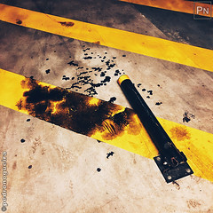 Parking lot (Pedro Nogueira Photography) Tags: pedronogueira pedronogueiraphotography photography iphonex iphoneography streetphotography grunge parkinglot underground urban stripes yellow black marks