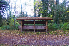 Canalside stop plank rack, New Mills.  (Peak Forest Canal) October 2018 (dave_attrill) Tags: peakforest canal newmills stopplanks store rack towpath peakdistrict derbyshire october 2018