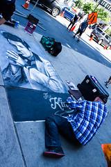 The King (klauslang99) Tags: streetphotography klauslang elvis presley painting drawing street art man pavement city toronto