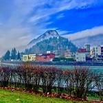 River Inn with Pendling mountain in Kufstein, Tyrol, Austria thumbnail
