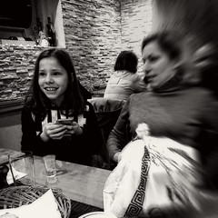 laughing Anna (j.p.yef) Tags: peterfey jpyef yef people mother daughter girl woman inside restaurant monochrome bw sw iphone square anna laughing