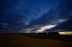 EWG Sunset (MRL 390) Tags: ewg easternwashingtongateway mrl mrlsd45 grain graintrain train railroad sunset sky reardan reardanwashington washington emd emdsd45 highlinegrainterminal fourlakeswashington freighttrain locomotive field