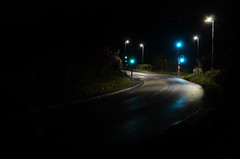 Silence (sgreen757) Tags: kingswood wotton under edge road night long exposure glos gloucestershire nikon d7000 minimal lights traffic green light wet empty