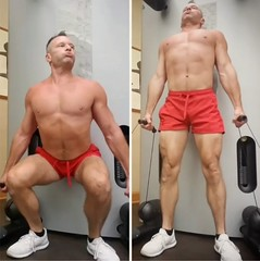 cable squats (ddman_70) Tags: shirtless pecs abs muscle gym workout shortshorts squats