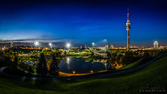 Olympiapark München (stephanfehrmann) Tags: bmw langzeitbelichtung longexposure münchen olympiapark blue bluehour blaue stunde reflection iconic view panorma