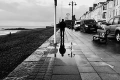 Mynd am dro ar y Ro Fawr (Rhisiart Hincks) Tags: monochrome unlliw anbhreatainbheag a'chuimrigh kembre southbeach rhodfa'rmôr promenâd promenade aod seaside glanymôr adsked reflection scáth islada adlewyrchiad bakarrik eihun alone wales cymru ceredigion yrofawr aberystwyth