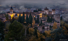 Amanecer de otoño en La Alhambra, desde La Silla del Moro, Granada, Andalucía, España (dleiva) Tags: granada alhamabra paseodelostristes alhambra andalucia andalusia architecture art arts building buildings castle castles cities city color colour daytime europe exterior fortress fortresses fountain fountains historic historical history horizontal jet jets outdoor outdoors outside palace palaces paseo de los tristes promenade promenades spain stronghold strongholds travel travels wall walls water world locations silla del moro