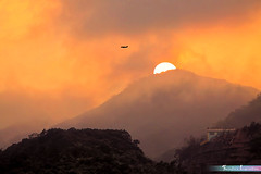 Misty Sunset at Sham Tseng, Hong Kong *A Beautiful Nature* (iLOVEnature's Photography Inspiration) Tags: mistysunsetatshamtseng shamtseng hongkong airplane plane misty fog foggy mountain sky sunset mist dusk sun sunflare nature landscape macro orange abeautifulnature