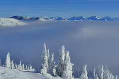 Distant Peaks Above The Inverted Clouds - Whitefish Mountain Resort, Montana (@mjmantis Montreal Urban Photos) Tags: montana snow winterwonderland whitefish usa travelphoto travelpics snowscape mountains landscape winter weather scenery sky winterbeauty