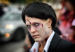 A Warhol Zombie (henriksundholm.com) Tags: portrait people portraiture face dof depthoffield bokeh vignette zombie zombiewalk shirt collar blood wound gore horror terror parade car stockholm sverige sweden 50mm