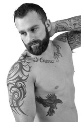 098 bw Nick Wagner shoot 5 (Violentz) Tags: male model body physique fitness muscle tattooed bearded beard patricklentzphotography