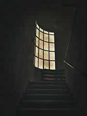 Staircase to the ... past (PHOTOGRAPHY Toporowski) Tags: abstrakt himmel vintage light architektur existinglight kunst aussehen architecture vergänglich vergänglichkeit availablelight alter geist retro shine kontrast nachdenken blick art shadow spirit verfall alt eschweiler nrwnordrheinwestfalen deutschland deu