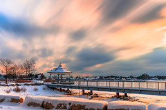 Cold Clouds (Daniel Q Huang) Tags: winter clouds sunrise blur landscape frozen ice icy lake gazebo snow