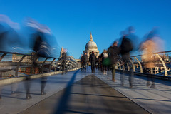 Morning walk to work....... (gmorriswk) Tags: london england unitedkingdom gb bridge st pauls commute motion blur walking landscape formatt hitech millenium