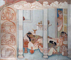 Le départ de Siddhârtha Gautama, le futur Bouddha (Temple Mulagandhakuti Vihāra, Sârnâth, Inde)