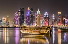Doha Skyline (Mohamed Rimzan) Tags: doha qatar qnd qatarliving skyline canon boat dhow longexposure building canon77d 70200mm