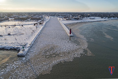 Kenosha Harbor (photo-engraver1) Tags: kenoshanorthpierlight lighthouse kenosha harbor lake lakemichigan water ice winter peir wisconsin