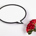 Flower bouquet of red roses with speech bubble