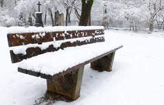 Munich - Have a seat... (cnmark) Tags: germany munich deutschland münchen bayern bavaria alternordfriedhof nordfriedhof park old northern cemetery bench bank graveyard snow schnee winter ©allrightsreserved