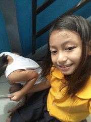 Herou and I (ghostgirl_Annver) Tags: asia asian girl boy annver teen preteen child kid brother sister family daughter son portrait selfie love happy school uniform stairs