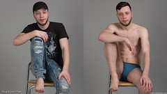 Man sitting in jeans and blue undies (StudioLads.com) Tags: male model man guy dude youth stud hunk pose studio photoshoot chair shirtless topless diptych dressed undressed clothed unclothed stripping strip bulge tight underwear undie undies undergarment briefs jeans tshirt fashion trendy casual blue hot horny sexy cute body physique legs chest nipple hair hairy foot feet barefoot sit sitting