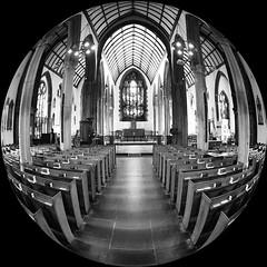 fisheye C of E (chrisinplymouth) Tags: fisheye round circular circle monochrome black white church cw69x xg square squareformat cw69sq plymouth devon england uk standrews minster anglican