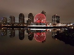 False Creek at night (walneylad) Tags: vancouver britishcolumbia canada falsecreek yaletown chinatown city urban buildings condos cityscape skyline dark night evening midnight lights creek water reflections clouds sky november fall autumn view scenery red scienceworld