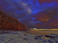 Winter's edge (Andy WXx2009) Tags: landscape seascape sea beach artistic cliffs rocks sky clouds wales europe seaside seashore sunlight waves water bristolchannel llantwitmajor coastline valeofglamorgan light