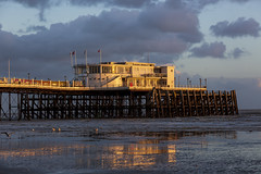 Golden Pier (worthing.alan) Tags: worthing pier afternoon sun set setting golden light seascape landscape weather beach coast sussex autumn fall reflection clouds england