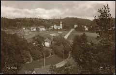 Postkort fra Agder (Avtrykket) Tags: bolighus hus kirke postkort uthus vei arendal austagder norway nor