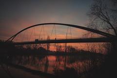 Arthur-von-Weinberg Steg... (hobbit68) Tags: frankfurt fechenheim main river fluss bridge brücken steg sonne sonnenschein sonnenaufgang winter water wasser tree baum himmel äsky wolken clouds sky sunset so