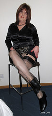 Are you seated comfortably (janegeetgirl2) Tags: transvestite crossdresser crossdressing tgirl tv ts trans jane gee stockings heels ankle boots leopard animal skin black satin blouse rht corset girdle