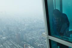 Taipei, Taiwan (jaumescar) Tags: taipei taipeicity taiwan skyscraper city urban blue color high vertigo fog look glass modern building taipei101 101 highlight