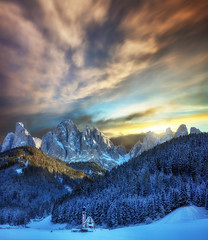Ancora un pò ... (Gio_guarda_le_stelle) Tags: dolomiti dolomiten dolomites sunset fire snow sky clouds atmosphere winter cool frozen ice church photomerge tripod odle 4x4 italy fluidr121