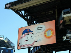 "Citi Field, 09/30/18 (NYM v MIA): ""Citi Field Info Guide"" video board graphic - no, this is not Mr. Met, but he still needs water (IMG_4357a) (Gary Dunaier) Tags: ballparks baseball stadiums stadia mets newyorkmets flushing queens newyorkcity queenscounty queensboro queensborough citifield"