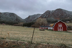 Spring Snow - Colorado (BeerAndLoathing) Tags: 2018 usa winter mountains canon clouds rural country barn snow farmland 77d spring colorado red farm ranch ice cold april