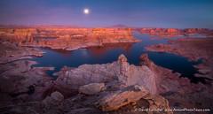 Lake Powell Moonrise (David Swindler (ActionPhotoTours.com)) Tags: alstrompoint fullmoon lakepowell moon reflection utah moonrise sunset